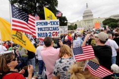 Thousands of demonstrators gather on the plaza near the U.S. Capitol to participate in a  protest in Washington